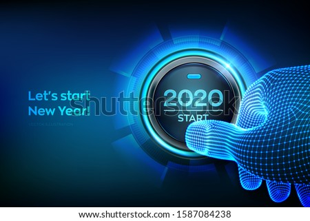 2020 start. Finger about to press a button with the text 2020 start. Happy new year. New Year two thousand and twenty is coming concept. Vector illustration.