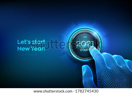 2021 start. Finger about to press a button with the text 2021 start. Happy new year. New Year two thousand and twenty one is coming concept. Vector illustration.