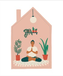 Stay home, keep calm, save mental health and enjoying life concept vector illustration. Woman doing yoga sitting in lotus pose and meditate at home  in social distancing period during quarantine.