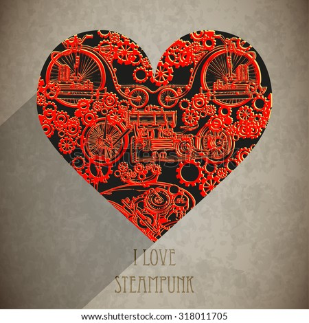 steampunk of abstract heart