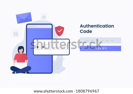 2-Step authentication illustration web page. Illustration for websites, landing pages, mobile applications, posters and banners.