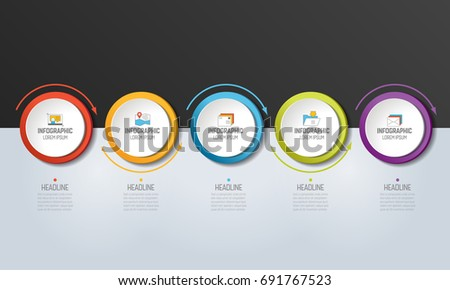 5 step Infographic. Circles with arrows. Template, diagram, graph, chart, presentation, infograph, milestone.