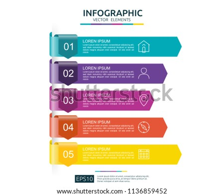 5 steps infographic. timeline design template with 3D arrow paper element. Business concept with options. For content, diagram, flowchart, steps, parts, workflow layout, chart.