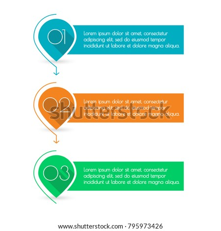 3 steps, levels or option with arrows. Pointers or map markers with numbers and space for text. Colorful number bullet points set. Menu interface design. Infographics template. Vector illustration.