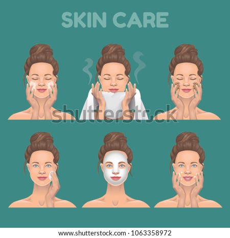 STEPS OF SKIN CARE. Vector illustration.