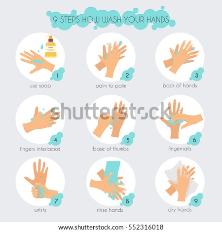 9 steps to properly wash your hands. Flat design modern vector illustration concept.