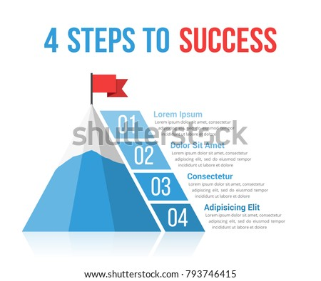 4 Steps to success infographics, leadership, motivation concept, vector eps10 illustration