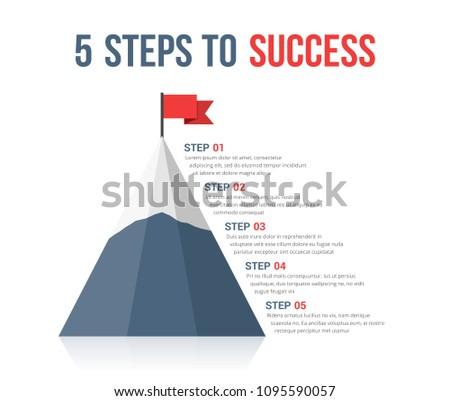 5 Steps to success infographics, leadership or motivation concept, vector eps10 illustration