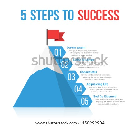 5 Steps to success infographics, leadership or motivation concept, vector eps10 illustration