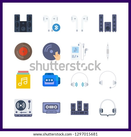 16 stereo icon. Vector illustration stereo set. cassette and vinyl icons for stereo works