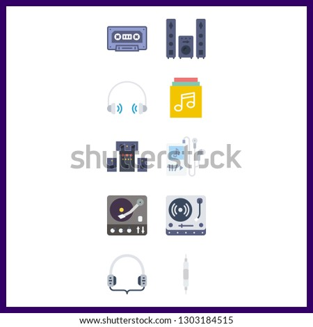 10 stereo icon. Vector illustration stereo set. cassette and volume controller icons for stereo works