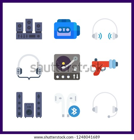 9 stereo icon. Vector illustration stereo set. earphones and blaster icons for stereo works