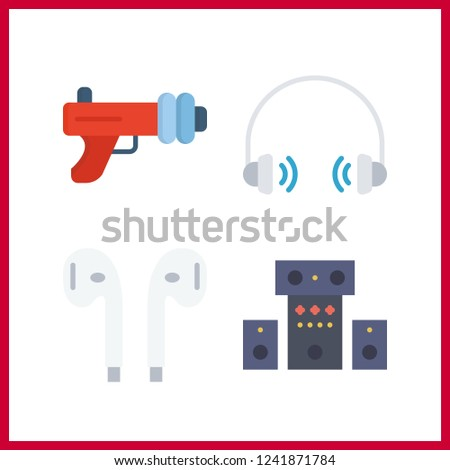 4 stereo icon. Vector illustration stereo set. headphones and blaster icons for stereo works