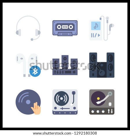 9 stereo icon. Vector illustration stereo set. headphones and cassette icons for stereo works