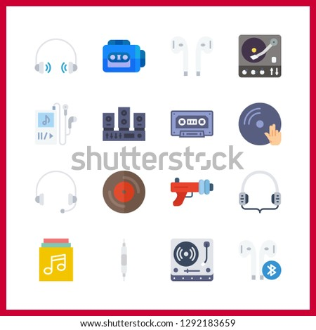 16 stereo icon. Vector illustration stereo set. headphones and cassette icons for stereo works