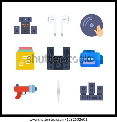 9 stereo icon. Vector illustration stereo set. music album and earphones icons for stereo works