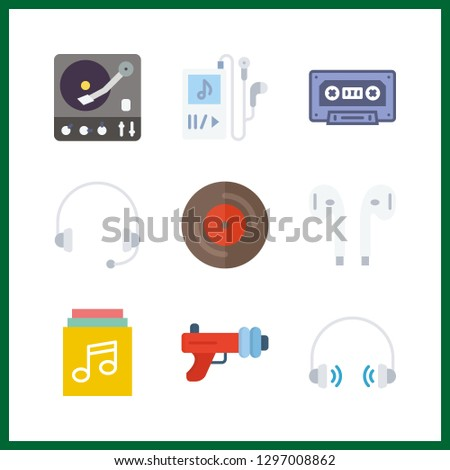 9 stereo icon. Vector illustration stereo set. music player and blaster icons for stereo works