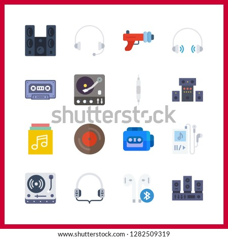 16 stereo icon. Vector illustration stereo set. music player and cassette icons for stereo works