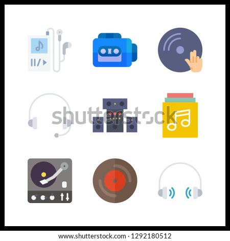 9 stereo icon. Vector illustration stereo set. music player and tape recorder icons for stereo works