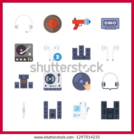 16 stereo icon. Vector illustration stereo set. music player and volume controller icons for stereo works