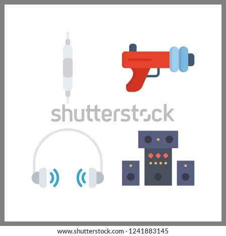 4 stereo icon. Vector illustration stereo set. sound system and blaster icons for stereo works