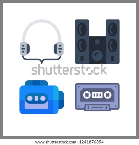 4 stereo icon. Vector illustration stereo set. sound system and cassette icons for stereo works