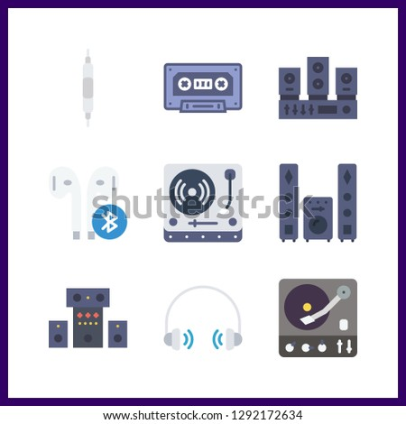 9 stereo icon. Vector illustration stereo set. sound system and headphones icons for stereo works