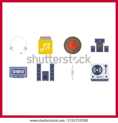 8 stereo icon. Vector illustration stereo set. sound system and music album icons for stereo works