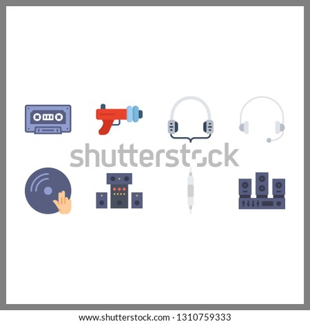 8 stereo icon. Vector illustration stereo set. sound system and vinyl icons for stereo works
