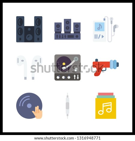 9 stereo icon. Vector illustration stereo set. sound system and volume controller icons for stereo works