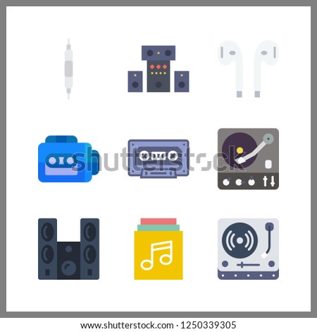 9 stereo icon. Vector illustration stereo set. turntable and earphones icons for stereo works