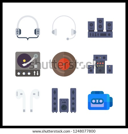9 stereo icon. Vector illustration stereo set. turntable and headphones icons for stereo works