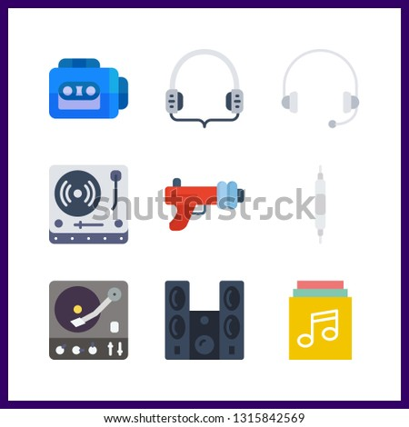 9 stereo icon. Vector illustration stereo set. turntable and tape recorder icons for stereo works