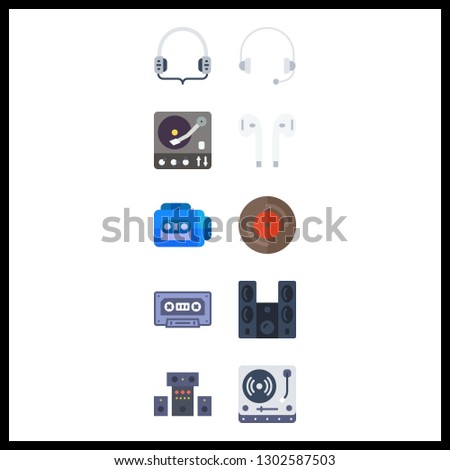 10 stereo icon. Vector illustration stereo set. vinyl and earphones icons for stereo works