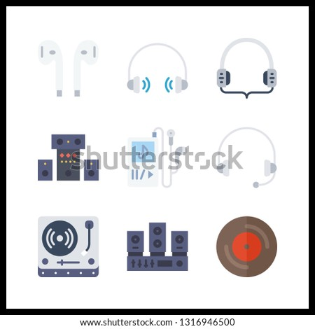 9 stereo icon. Vector illustration stereo set. vinyl and earphones icons for stereo works
