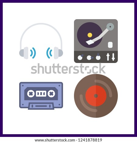 4 stereo icon. Vector illustration stereo set. vinyl and headphones icons for stereo works