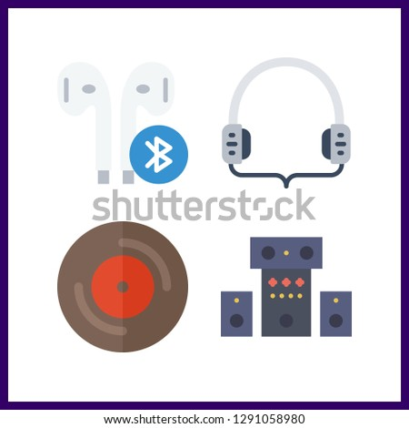 4 stereo icon. Vector illustration stereo set. vinyl and sound system icons for stereo works