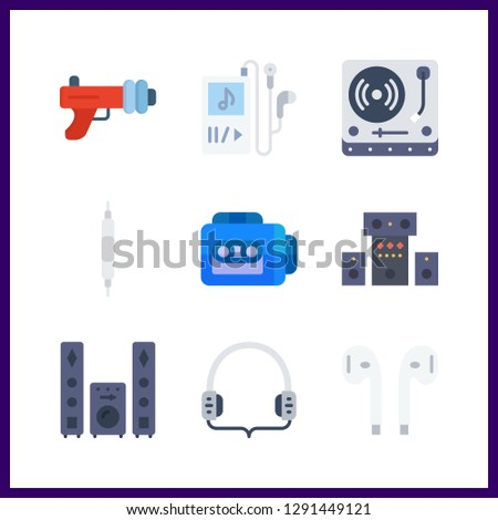 9 stereo icon. Vector illustration stereo set. volume controller and blaster icons for stereo works