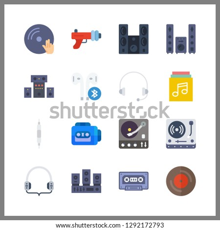 16 stereo icon. Vector illustration stereo set. volume controller and blaster icons for stereo works