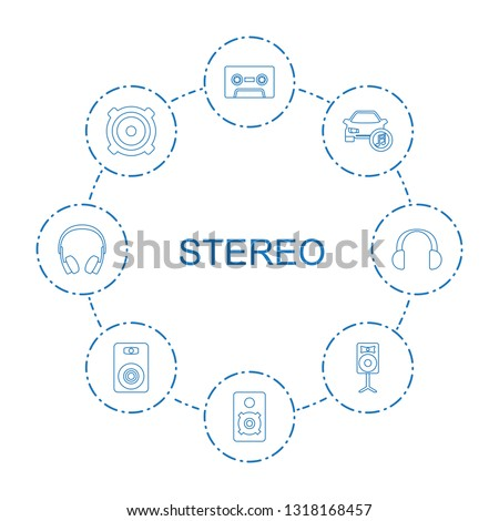 8 stereo icons. Trendy stereo icons white background. Included line icons such as cassette, loudspeaker, car music, loud speaker, speaker, earphones. stereo icon for web and mobile.