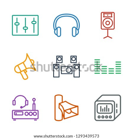 9 stereo icons. Trendy stereo icons white background. Included outline icons such as loud speaker with equalizer, volume, listening device, equalizer. stereo icon for web and mobile.