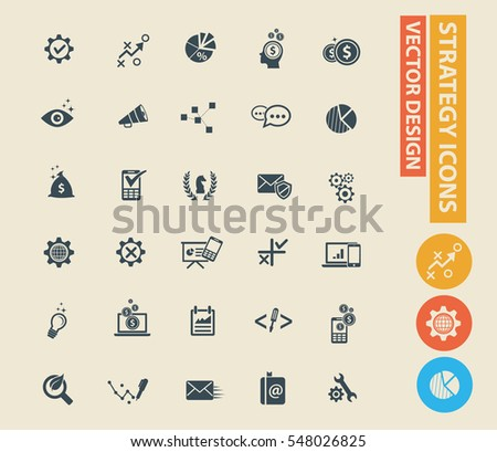 Strategy and business icon set,clean vector #548026825