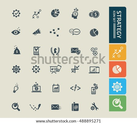Strategy and business icon set. vector #488895271