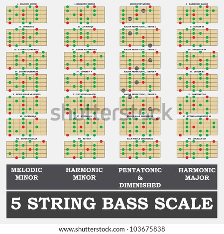 5 string bass scale minor for bass player teacher and student stock vector illustration. Black Bedroom Furniture Sets. Home Design Ideas