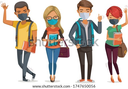Students mask group smiling and standing together. person wear face mask protect virus. Protect dust PM 2.5 and Covid-19. Social distancing new normal coronavirus related.