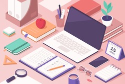 Students Work Desk with Educational Supplies. Laptop, Smartphone, Books, Exercise Books and other Stuff for Learning. Office Workplace. Online Education Concept. Flat Isometric Vector  Illustration.