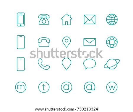 4 Style Contact information Icon in Vector Format , all are 20 icons