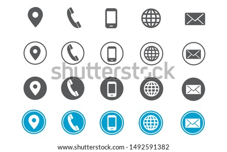 4 style contact information icons for business card and website
