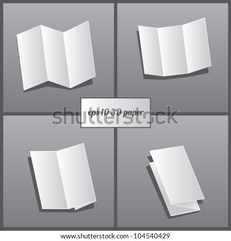 4 style 3d paper blank set vector
