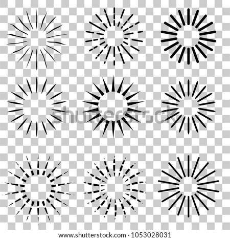 9 Style of Sunburst, at transparent effect background